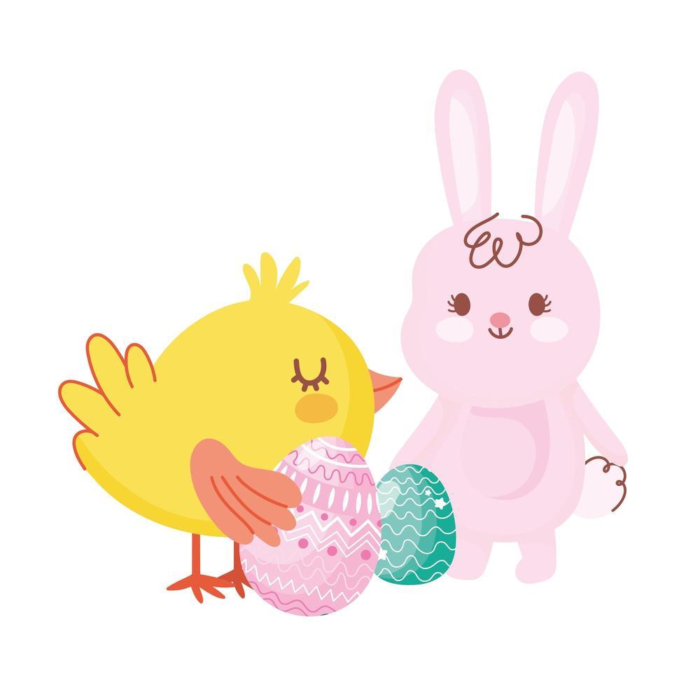 glückliches Osterhase und Huhn mit Eiern Karikatur vektor