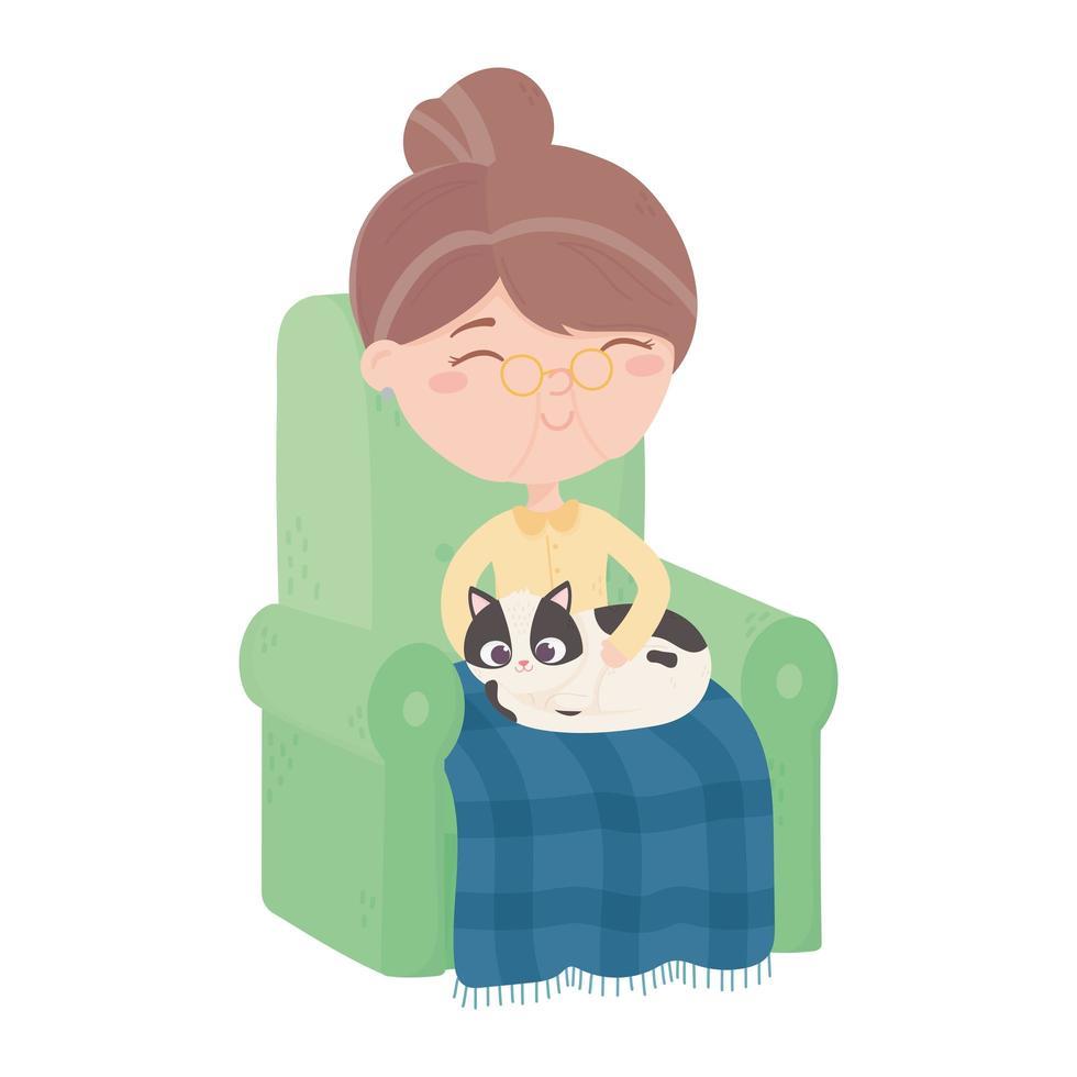 Katzen machen mich glücklich, alte Frau sitzt mit Decke und Katze im Sofa vektor