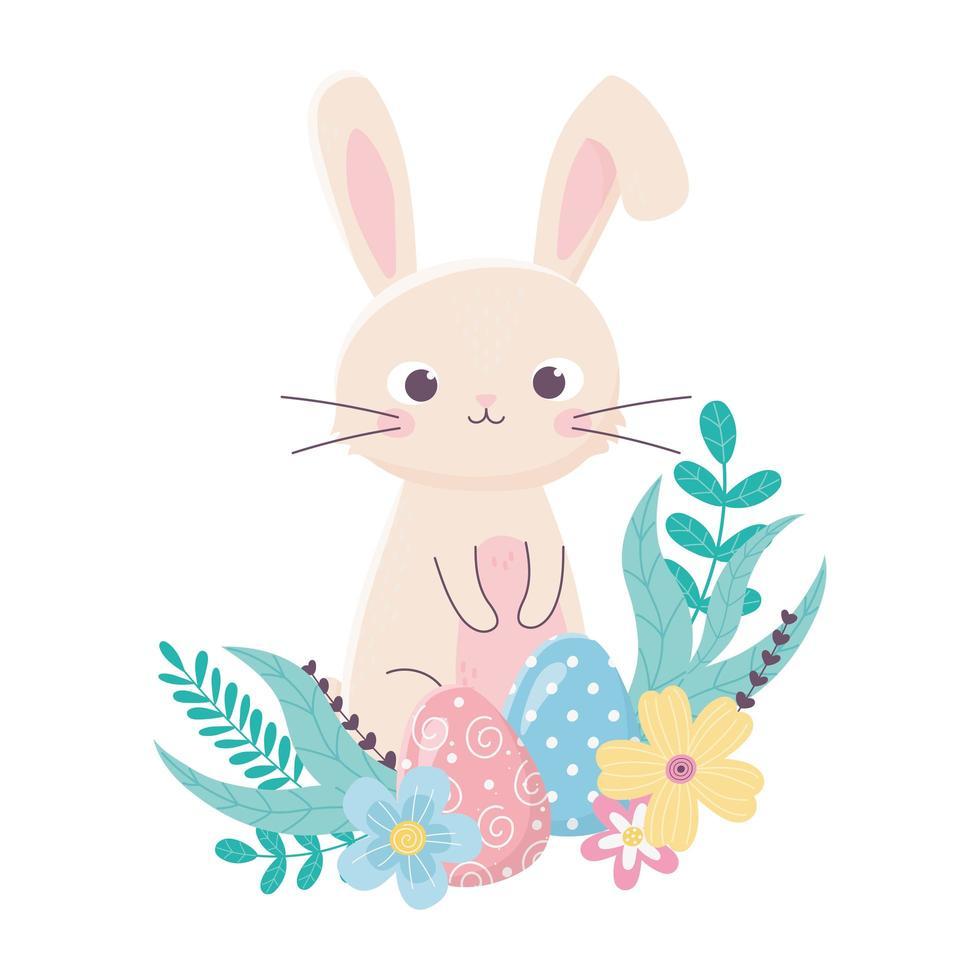 glückliches Ostern süßes Kaninchen und Eier blüht Laubkarikatur vektor