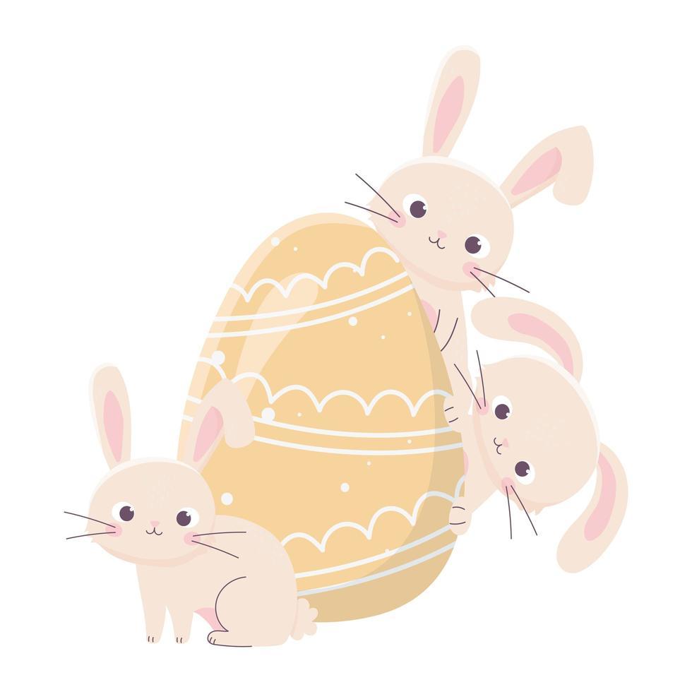 glad påskdag, söta kaniner med målad äggdekoration vektor