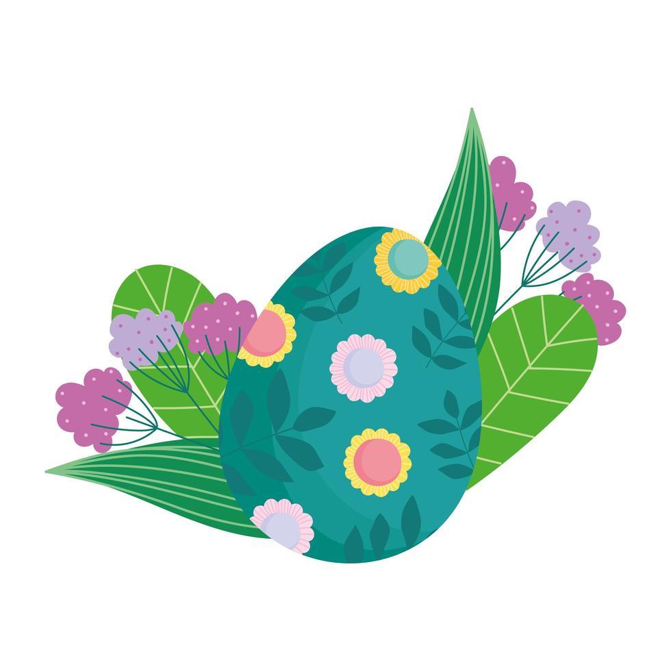 lyckligt påskgrönt ägg dekorerat med blommor och lövblad vektor
