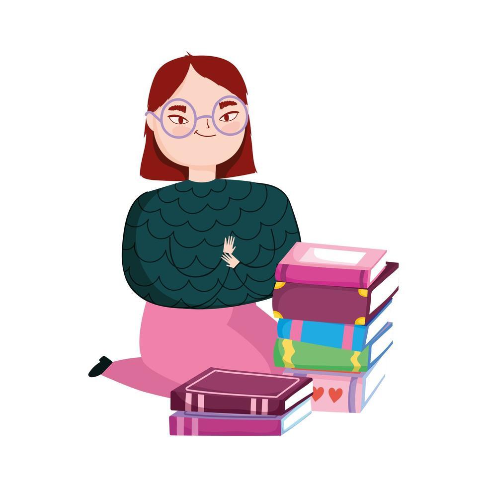 ung kvinna på knä med stapelböcker, bokdag vektor