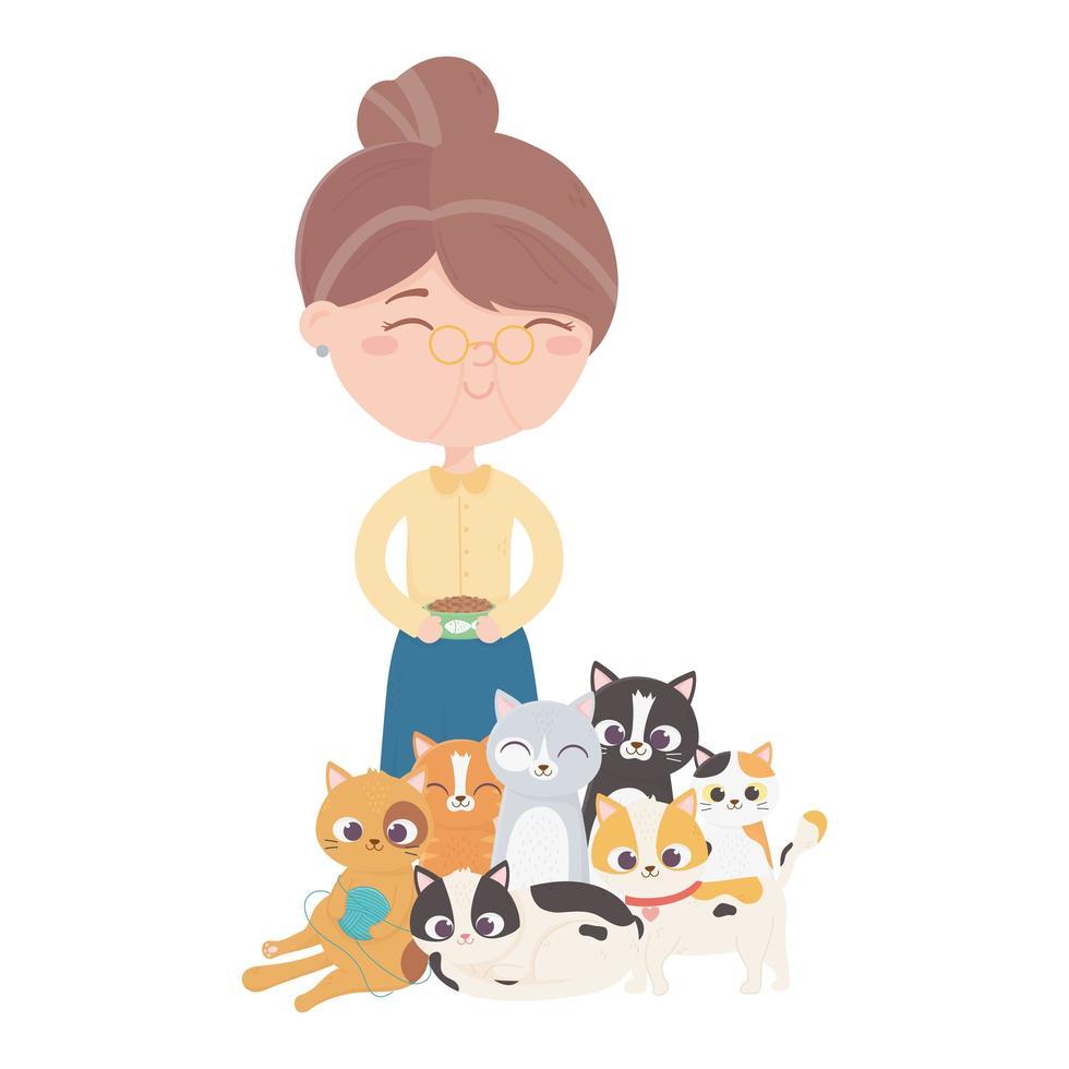 Katzen machen mich glücklich, alte Frau mit Futter und Kätzchen Cartoon vektor