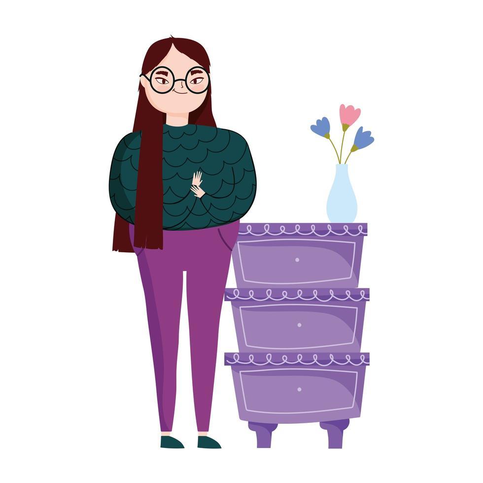 ung kvinna med sidobord och blommor i vasdekoration vektor