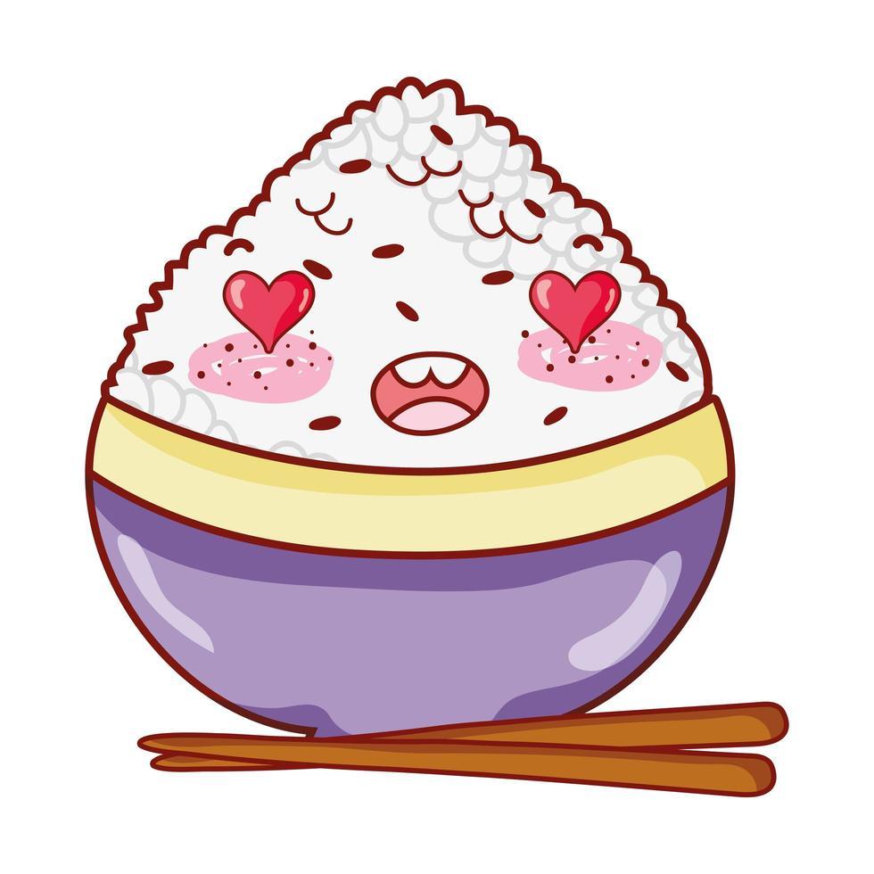 kawaii entzückender Reis in Schüssel Essen japanischer Cartoon, Sushi und Brötchen vektor