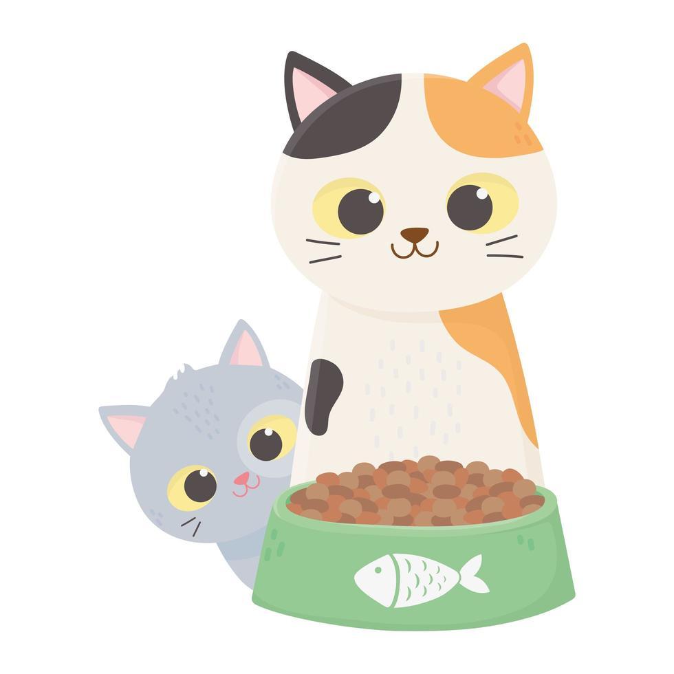Katzen machen mich glücklich, süße Katzen mit Schüsselfutter-Cartoon vektor