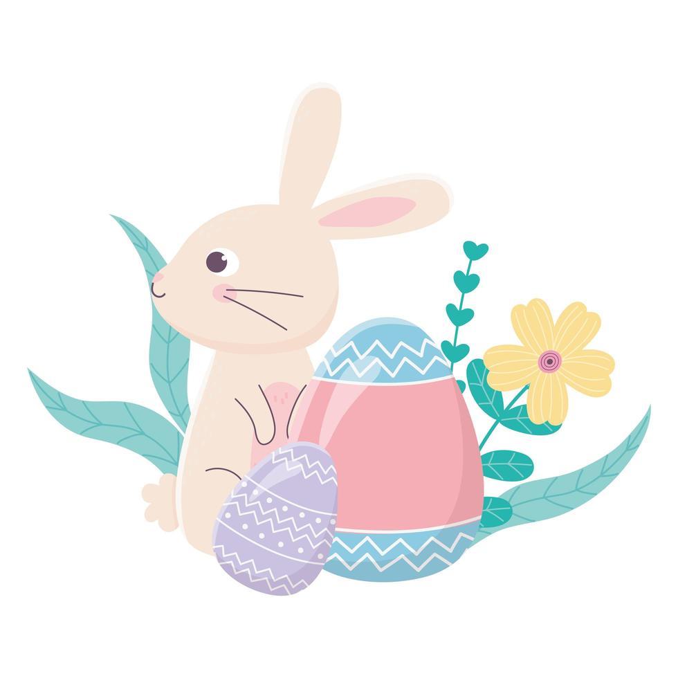 Happy Easter Day, Kaninchen gemalt Eier Blumen Laubdekoration vektor