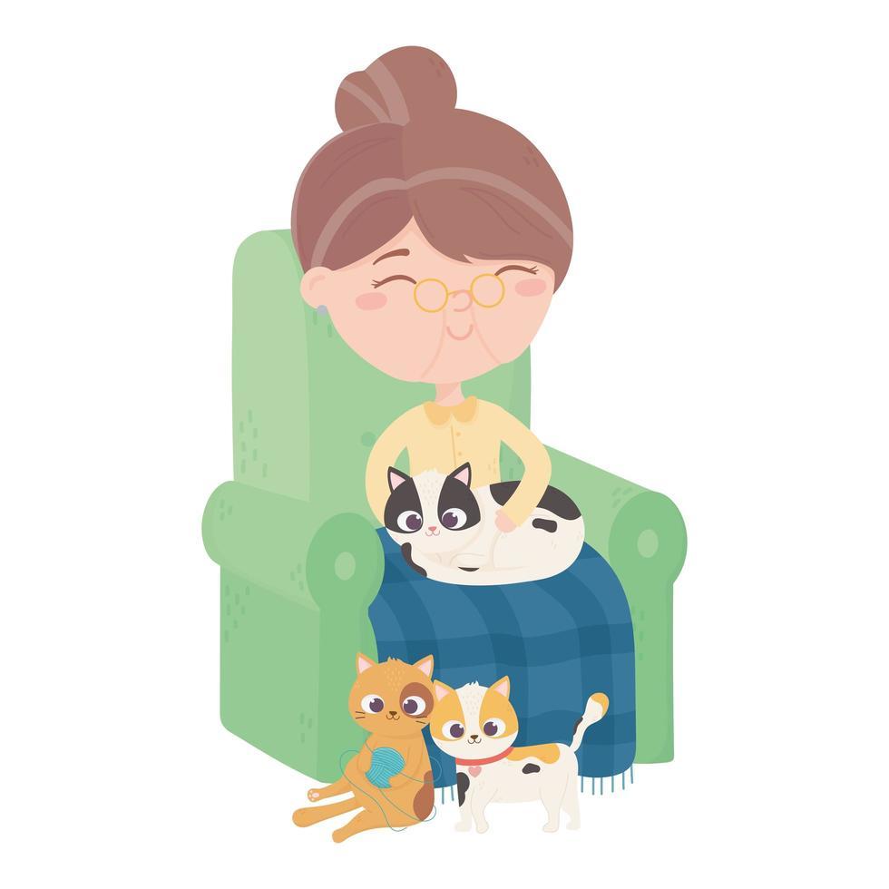 katter gör mig lycklig, gammal kvinna som sitter med kattungar i soffan vektor