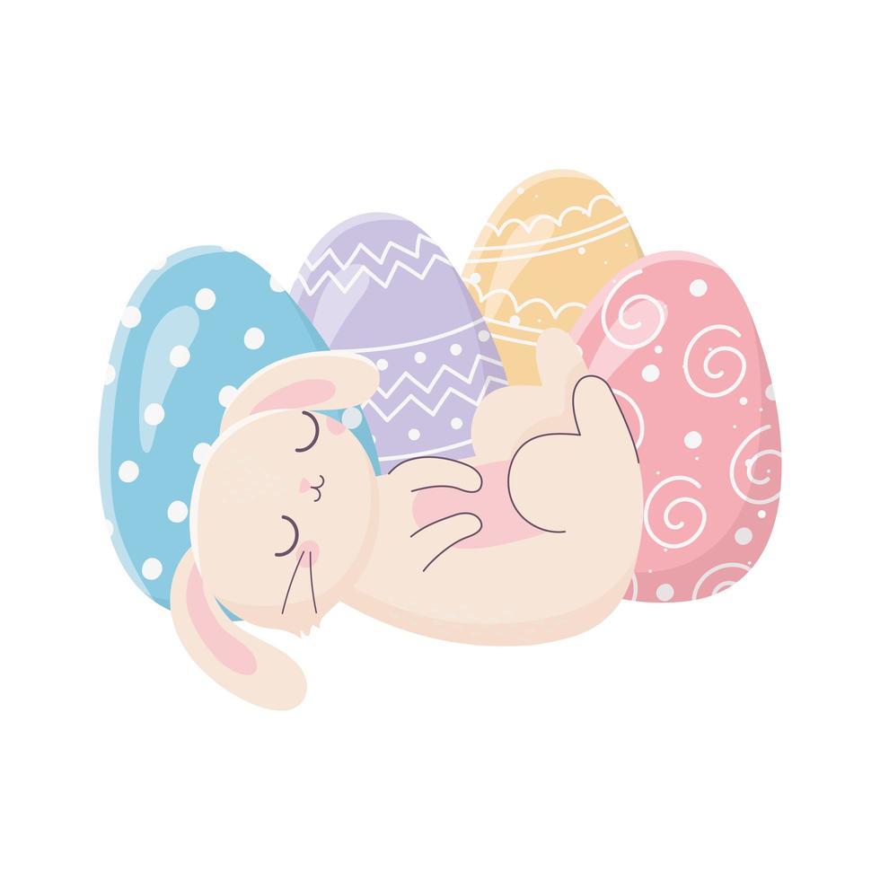 glückliches Osterschlafkaninchen mit Eierdekorationsfeier vektor