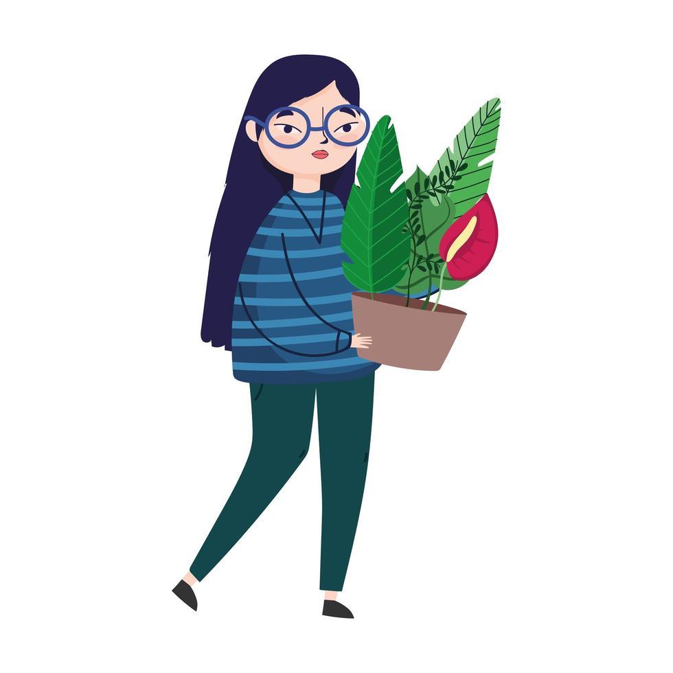 ung kvinna som bär krukväxtblommadekoration vektor