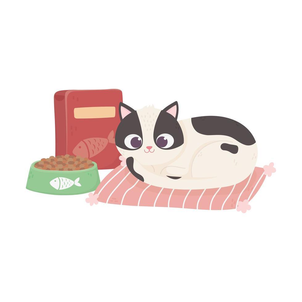 katter gör mig lycklig, katt med skålmat och låda i mattatecknad film vektor