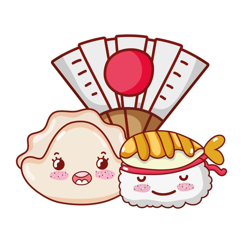 Kawaii Sushi Fisch Tempura und Fan Food japanischen Cartoon, Sushi und Brötchen vektor