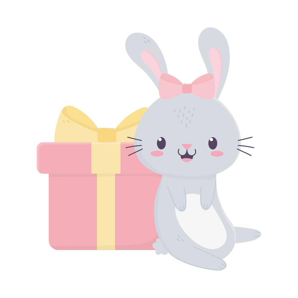 Alles Gute zum Geburtstag niedliches Kaninchen mit Geschenk und Bogenkarikatur vektor