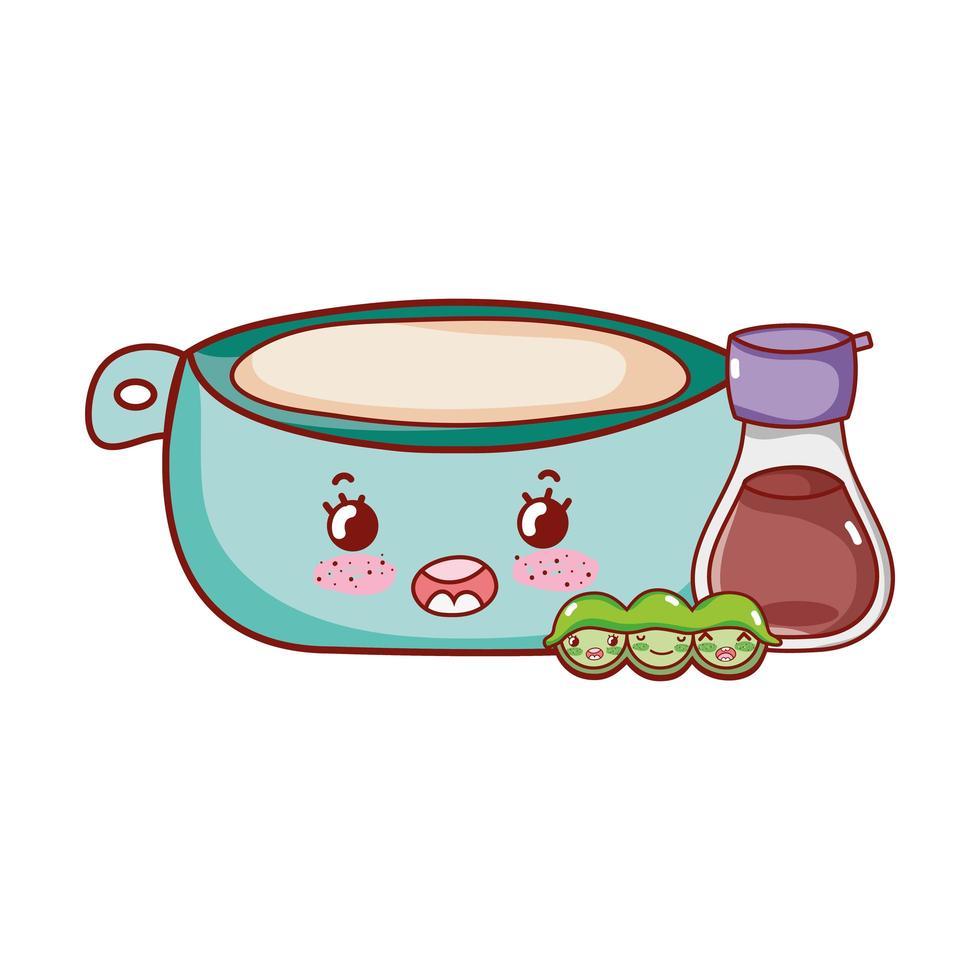 kawaii Schüssel Sake und Erbsen Essen japanischen Cartoon, Sushi und Brötchen vektor