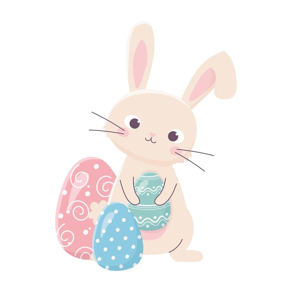 glad påsk söt kanin håller ägg dekoration firande vektor
