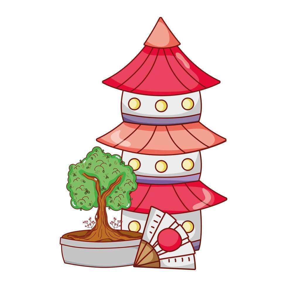 Pagodenfächer und Bonsai-Baum japanischer Cartoon vektor