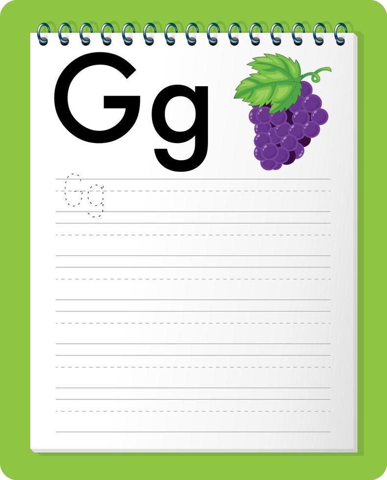 Arbeitsblatt zur Alphabetverfolgung mit den Buchstaben g und g vektor