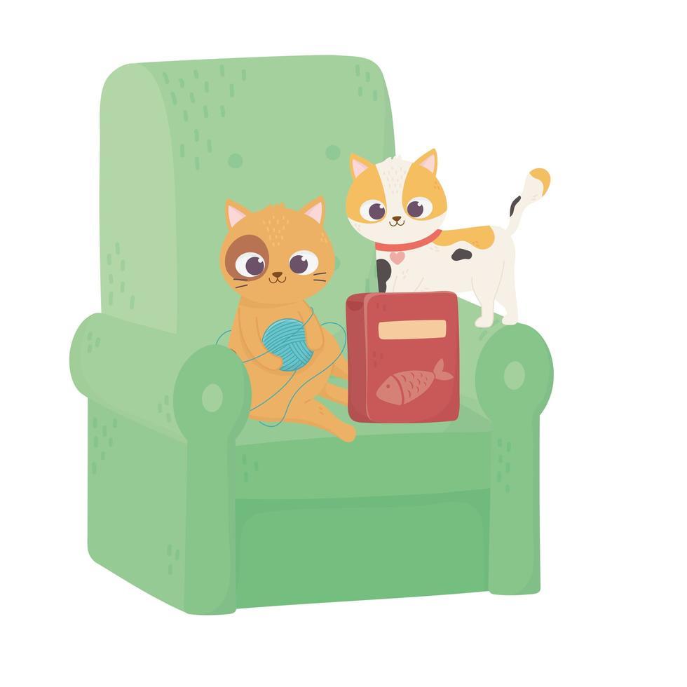 katter gör mig lycklig, söt katt som spelar ullboll i soffan vektor