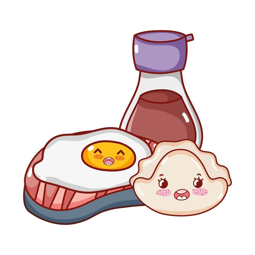 kawaii stekt äggkaka och sake mat japansk tecknad film, sushi och rullar vektor