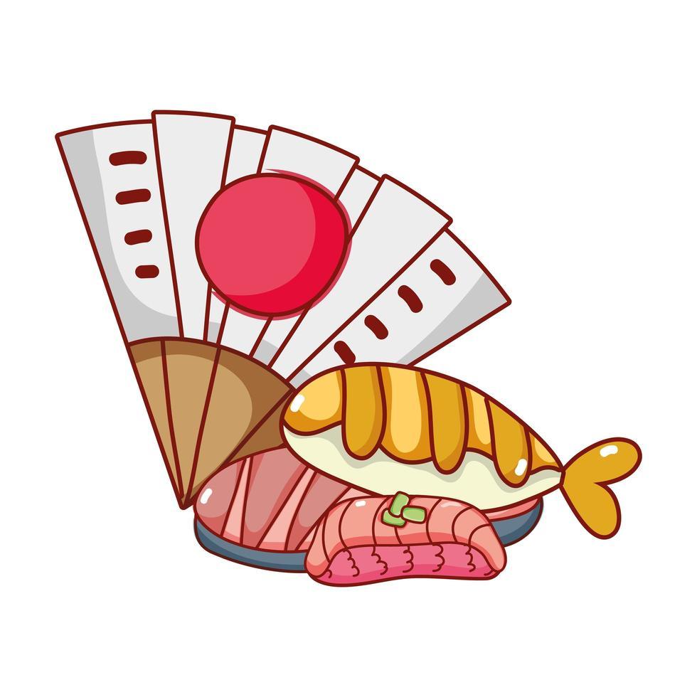 fläkt och sushi ris fisk kawaii mat japansk tecknad film, sushi och rullar vektor