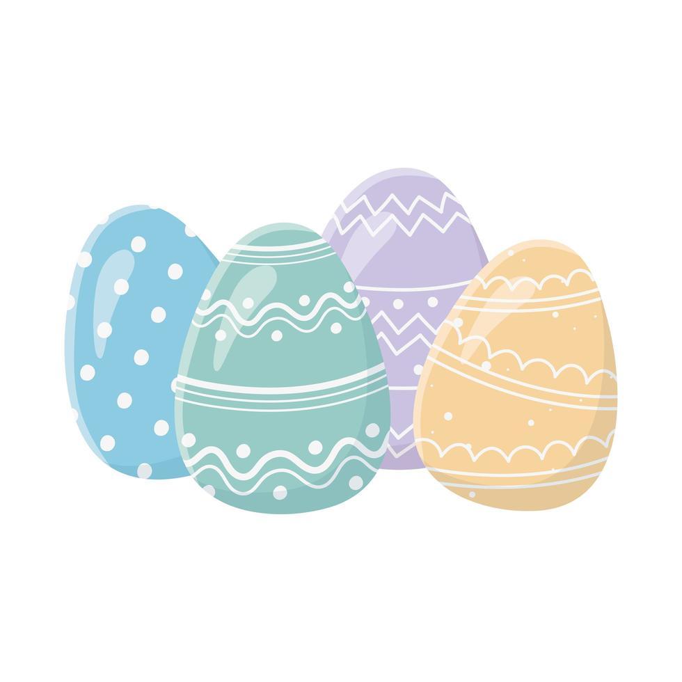 glad påskdag gratulationskort dekorativa färgade ägg vektor