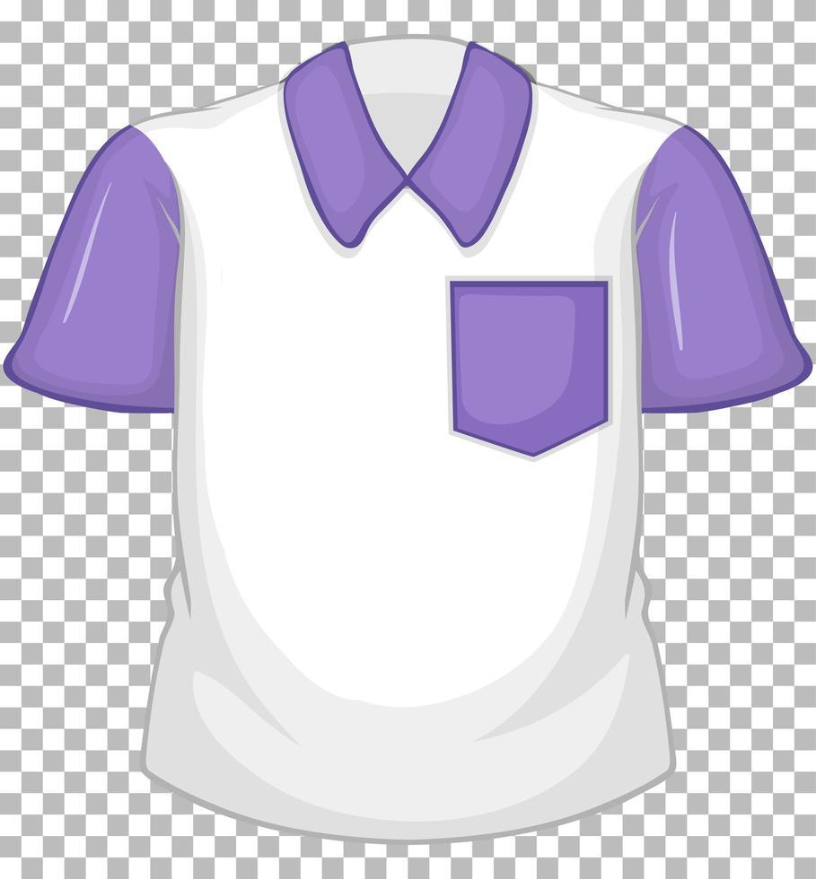 leeres weißes Hemd mit lila kurzen Ärmeln und Tasche auf transparent vektor