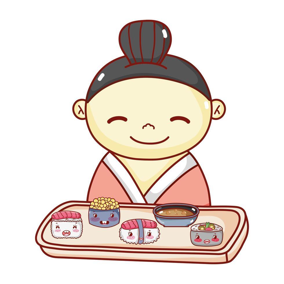 Geisha mit Tablett Sushi Suppe Reis Essen japanischen Cartoon, Sushi und Brötchen vektor