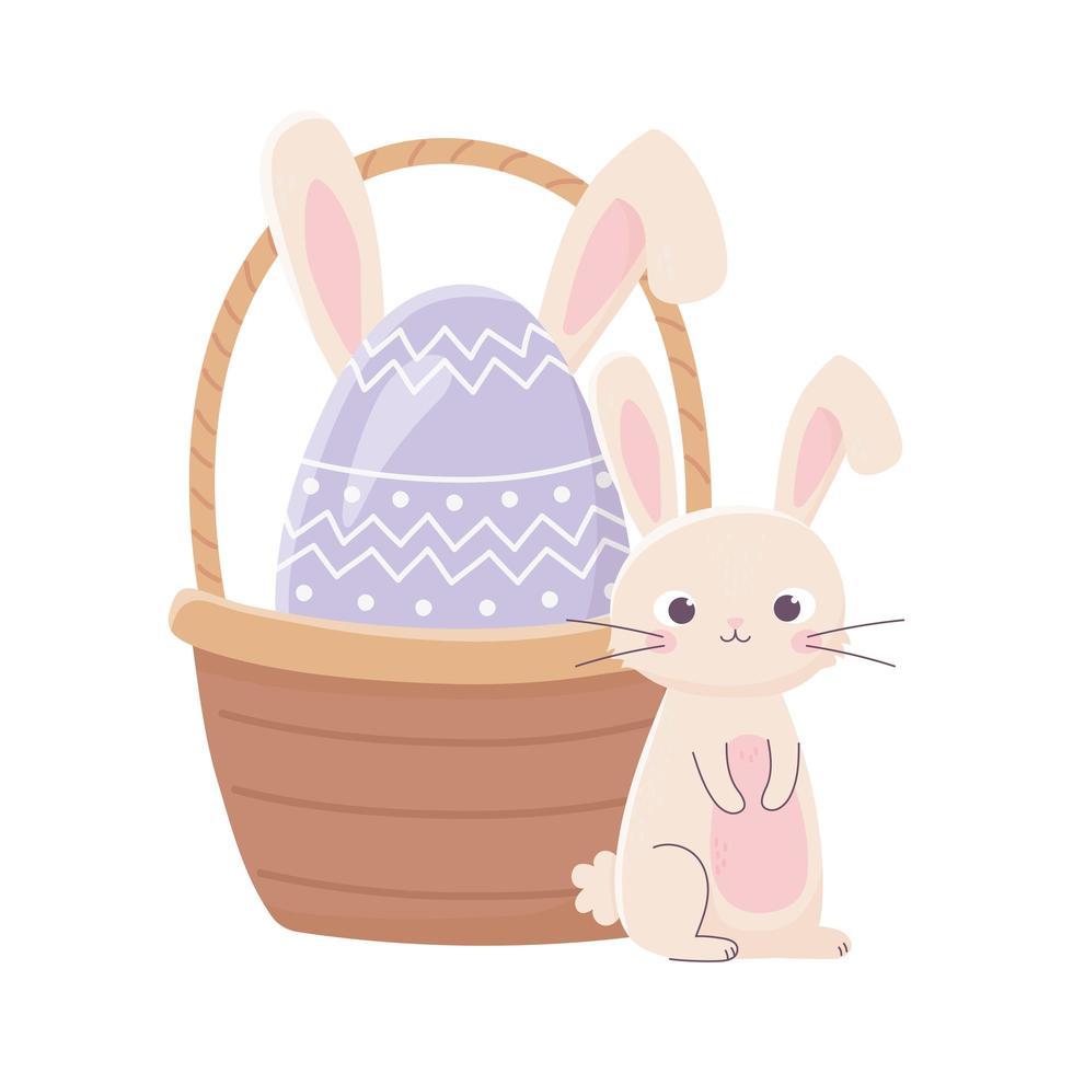 Glücklicher Ostertag, niedliches Kaninchen und Ei mit Ohren in Korbdekoration vektor