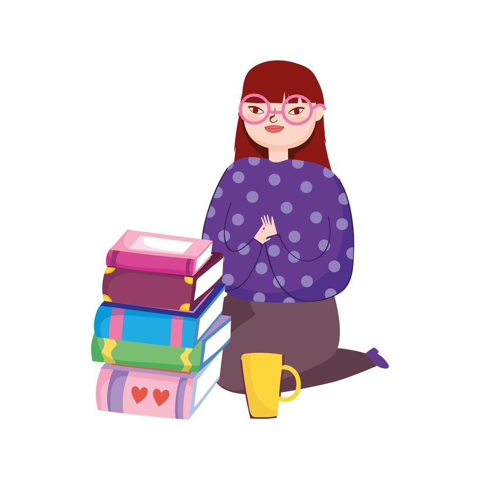 ung kvinna på knä med böcker och kaffekopp, bokdag vektor