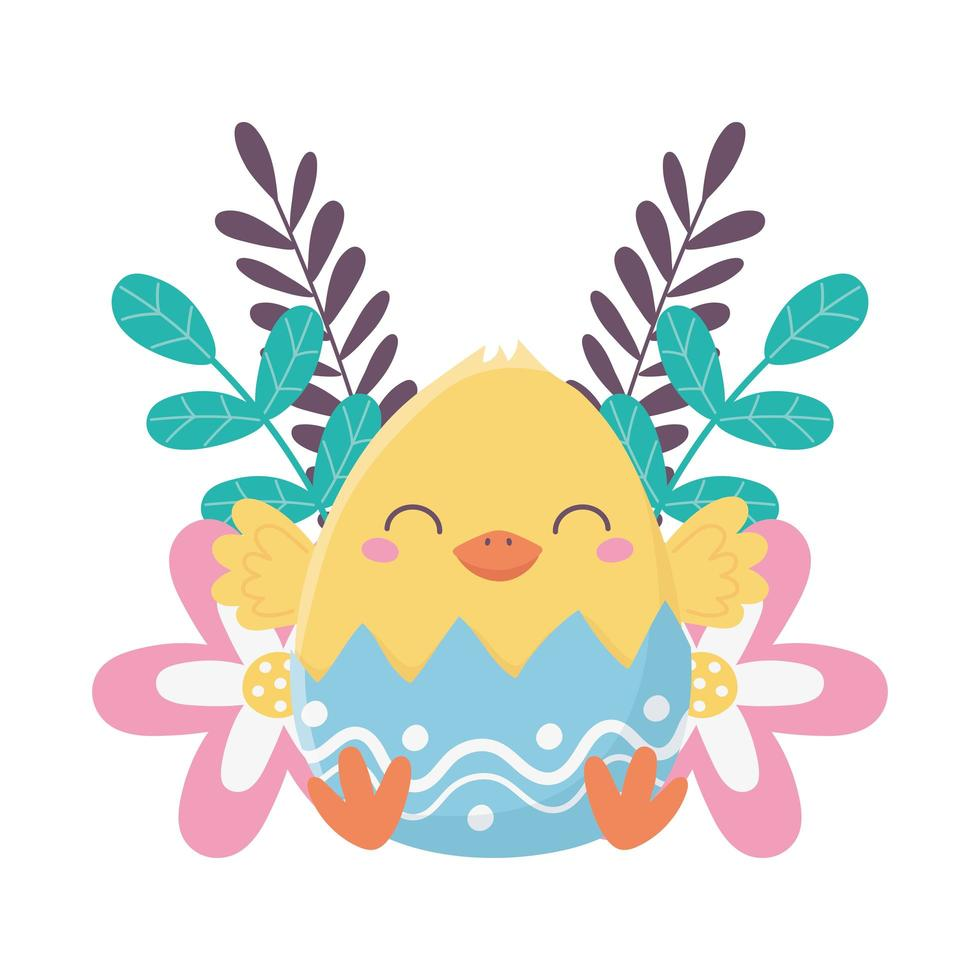 Glücklicher Ostertag, Huhn in der Eierschalenblumendekoration vektor