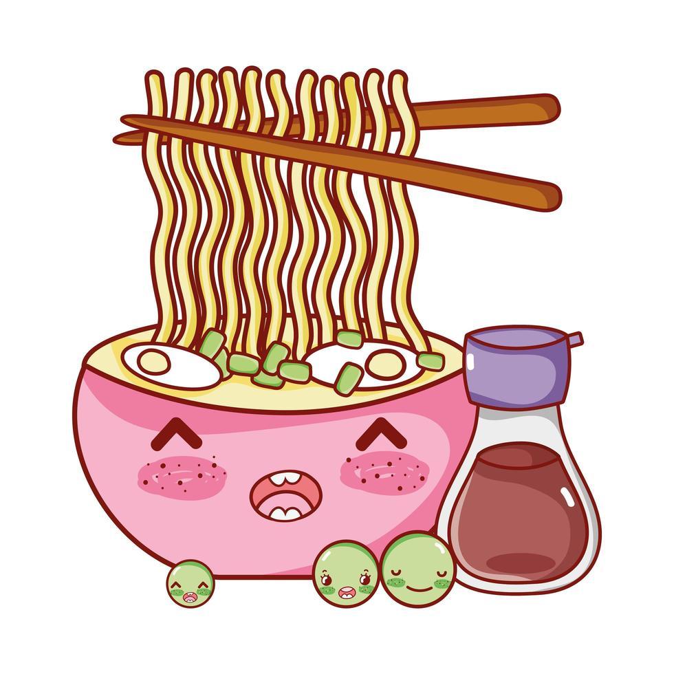 Kawaii Nudeln Suppe Sake und Erbsen Essen japanische Cartoon, Sushi und Brötchen vektor