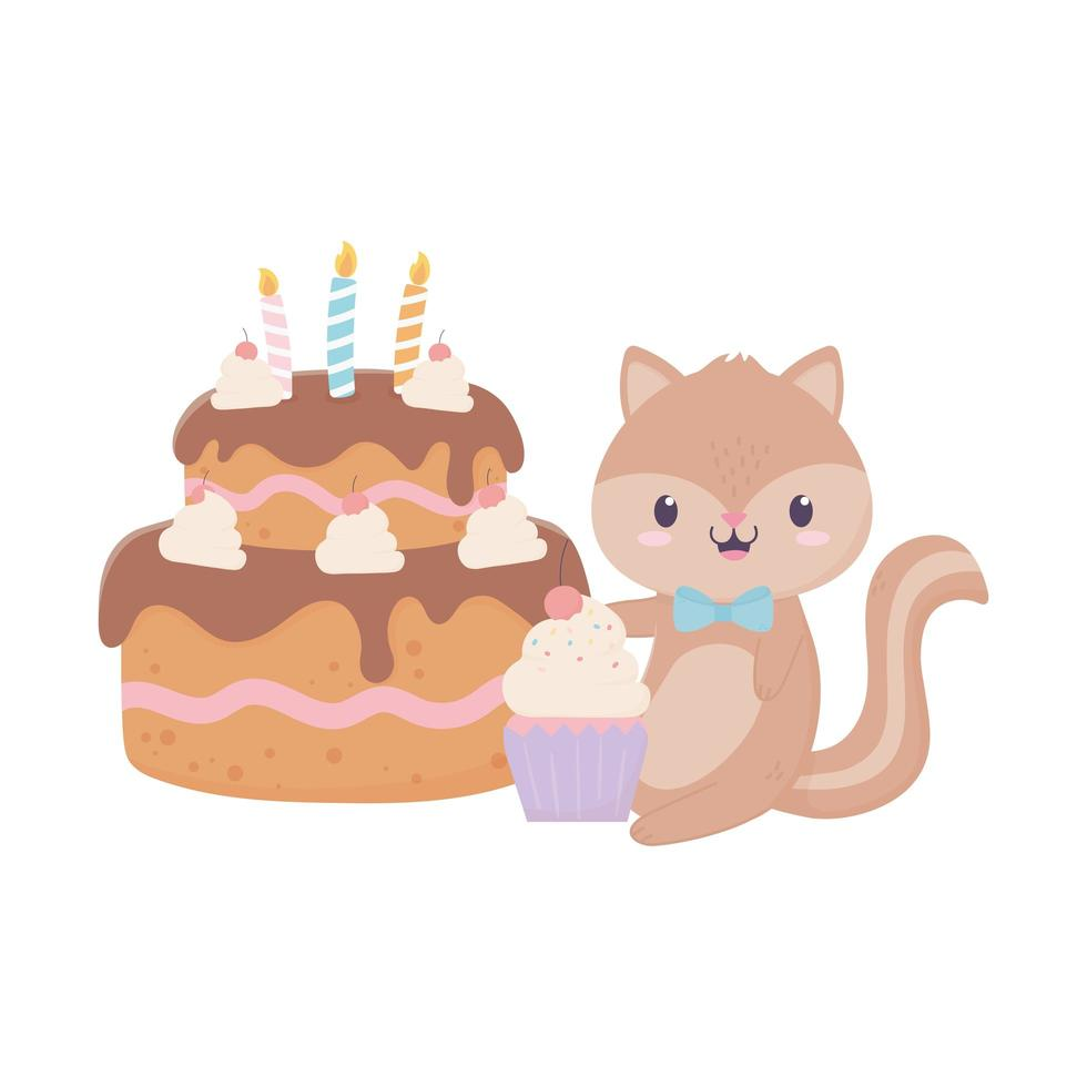 baby shower ekorre tårta och cupcake kort dekoration vektor