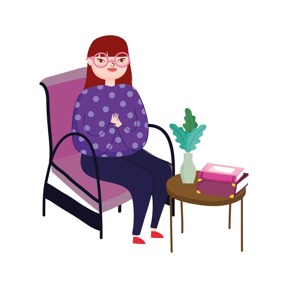 junge Frau sitzt im Stuhl Beistelltisch mit Büchern und Blume, Buchtag vektor