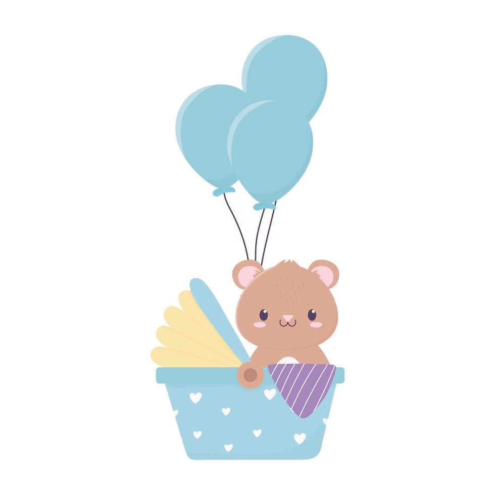 baby shower söt björn i barnvagn med ballongdekoration vektor