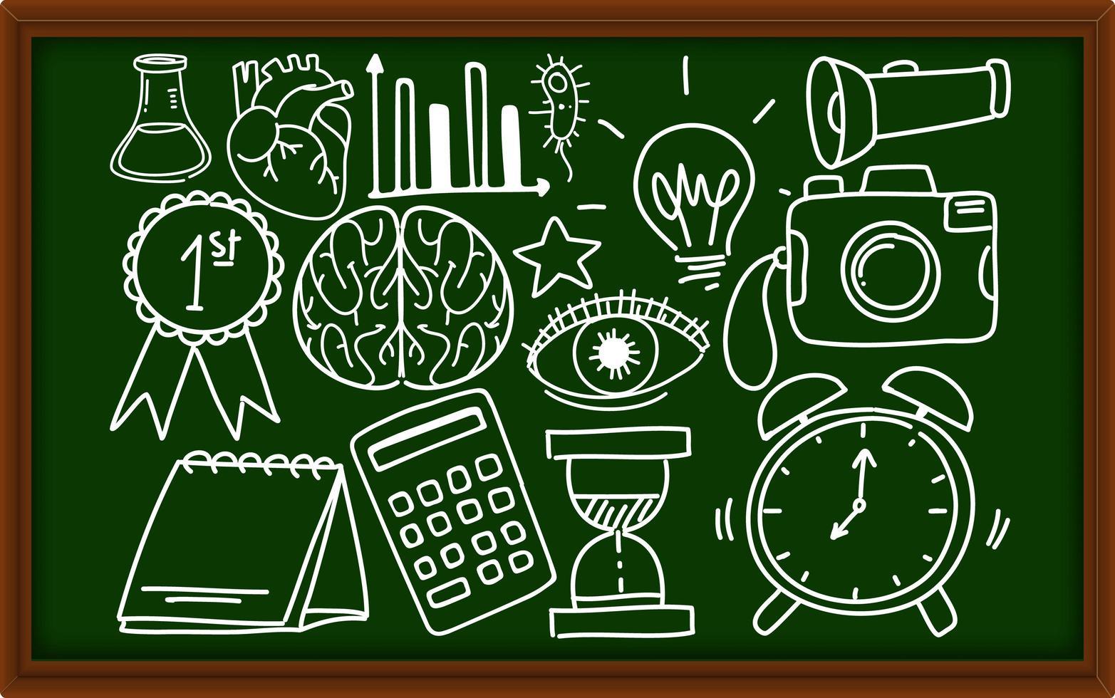 verschiedene Doodle-Striche über Schulausrüstung an der Tafel vektor