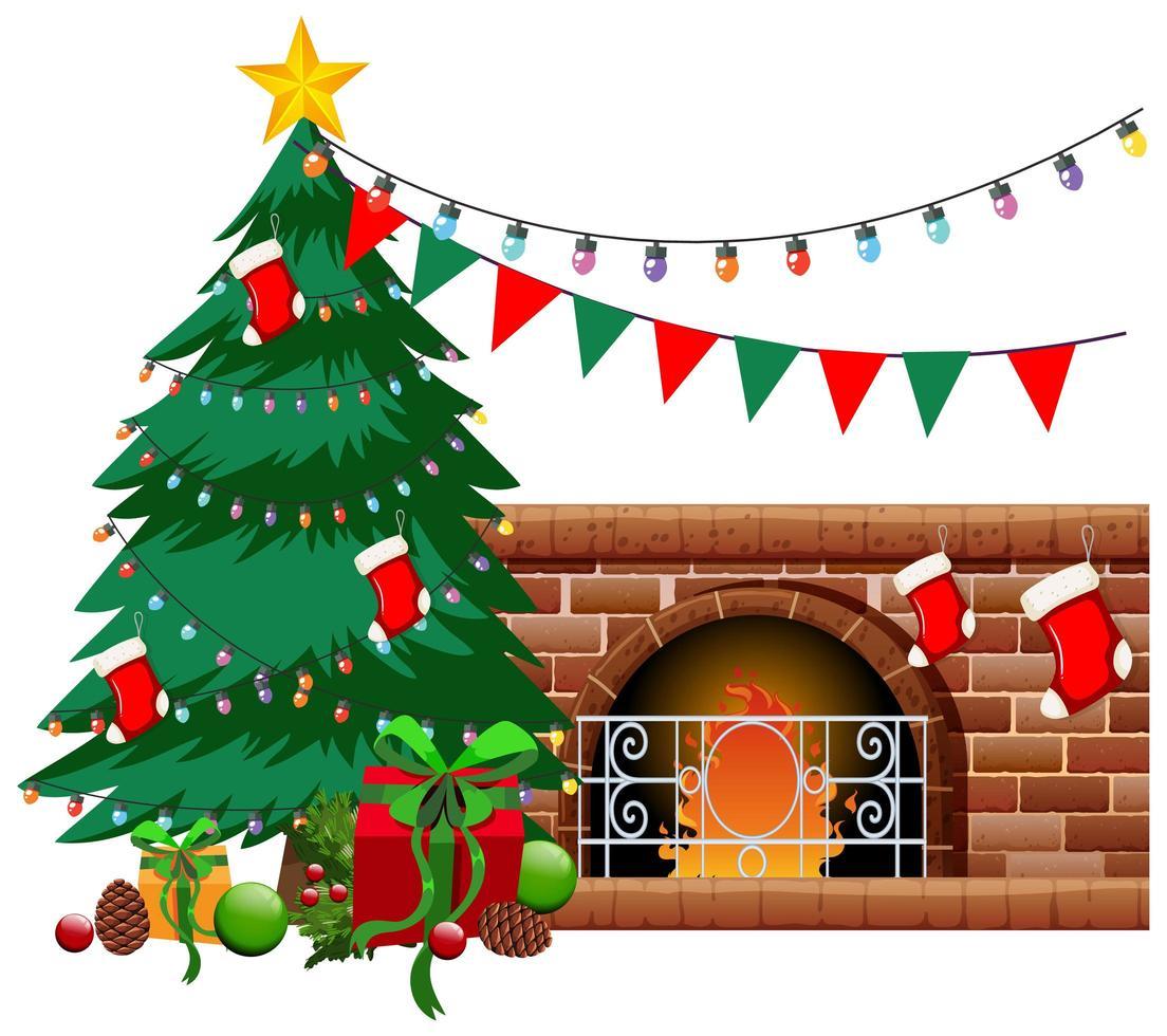 öppen spis med julgran och objekt på vit bakgrund vektor