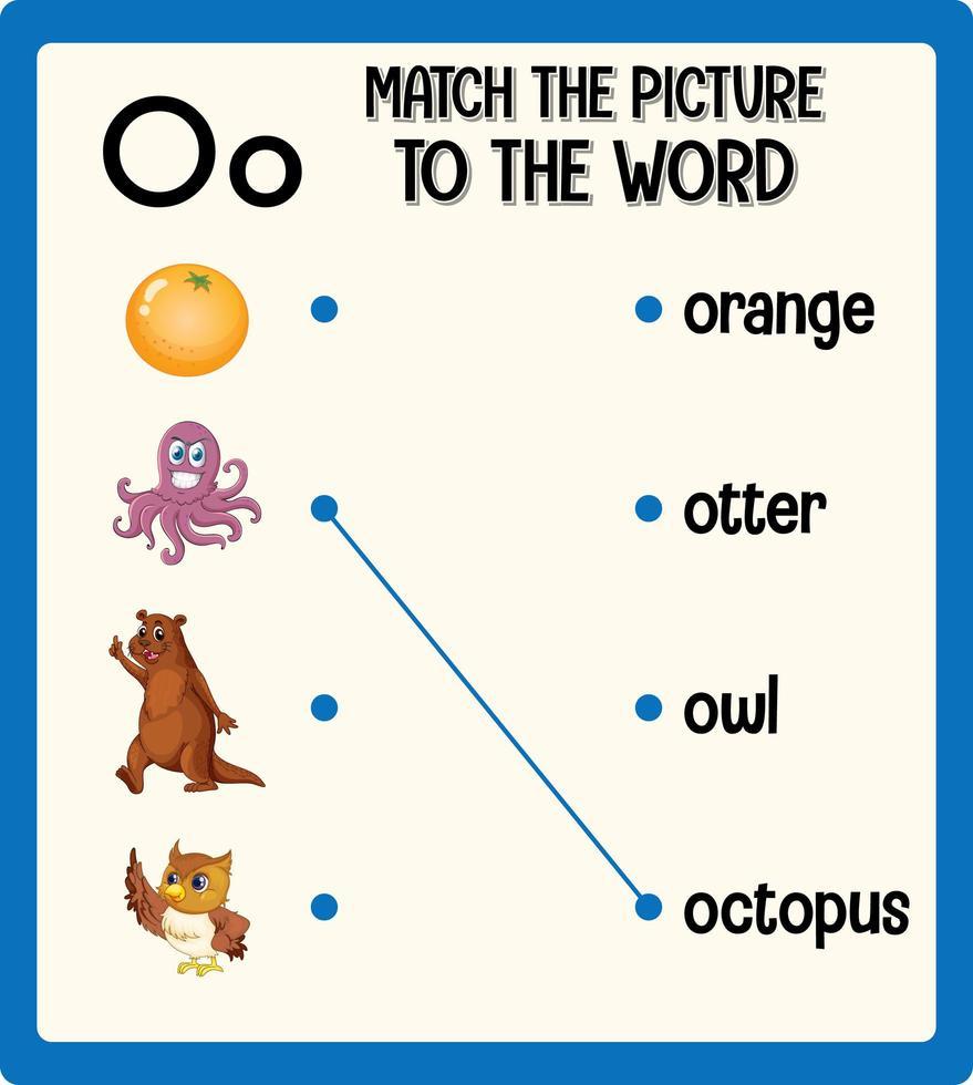 Ordnen Sie das Bild dem Wortarbeitsblatt für Kinder zu vektor