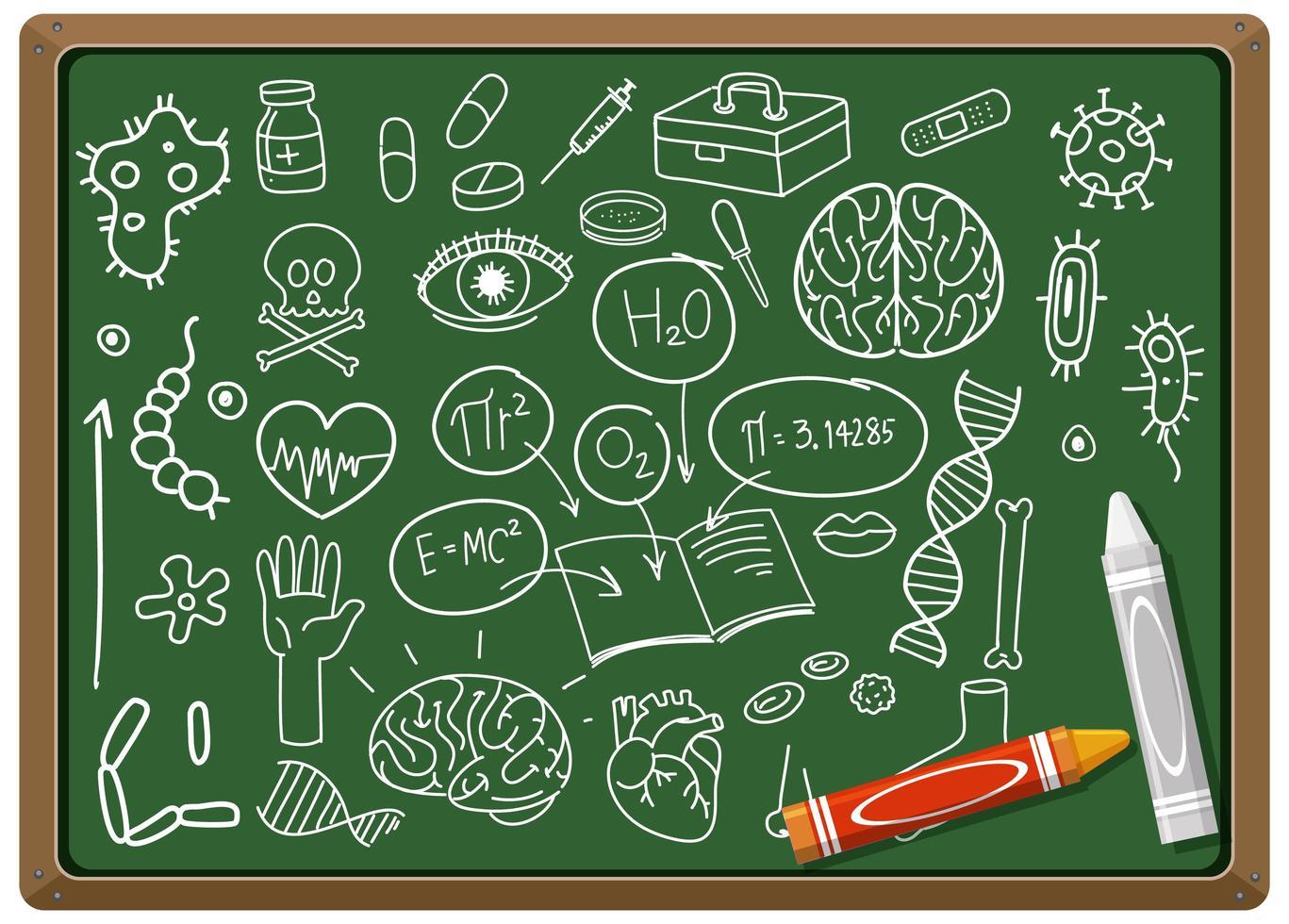 handritad medicinsk vetenskap element på svarta tavlan vektor