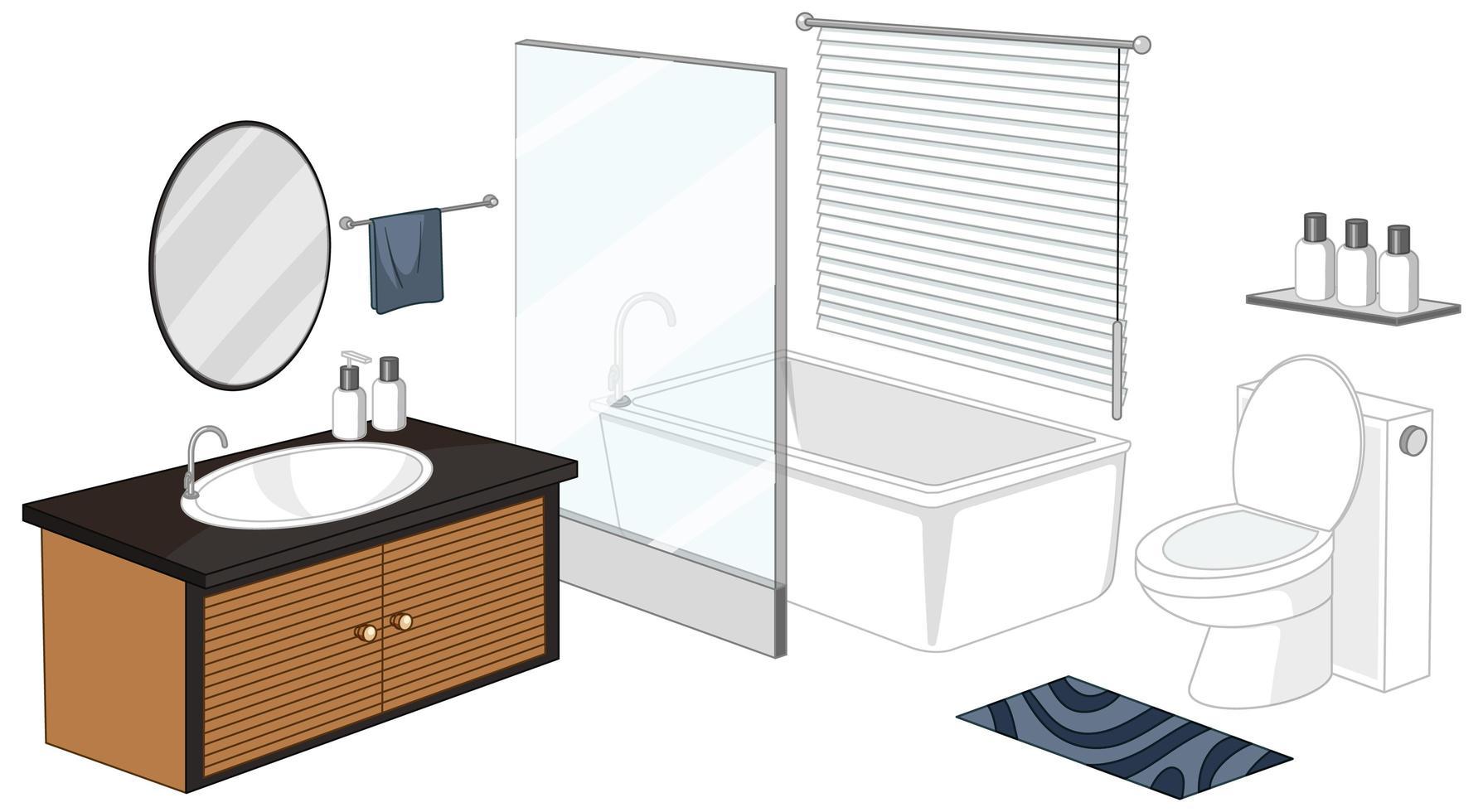 badrumsmöbler isolerad på vit bakgrund vektor