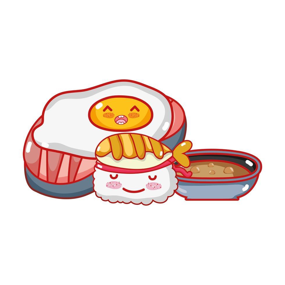 kawaii stekt ägg sushi och mat japansk tecknad film, sushi och rullar vektor