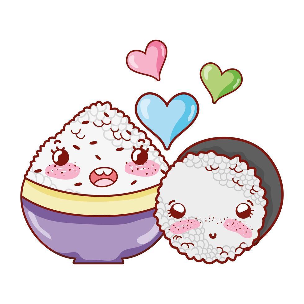 kawaii Schüssel mit Reis und Brötchen lieben Essen japanischer Cartoon, Sushi und Brötchen vektor