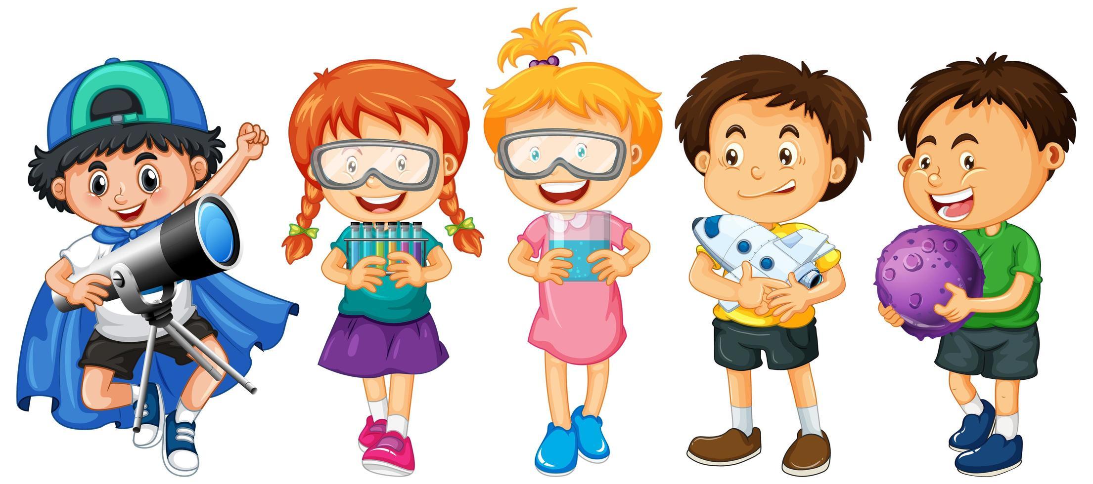 Gruppe der Zeichentrickfigur der kleinen Kinder auf weißem Hintergrund vektor