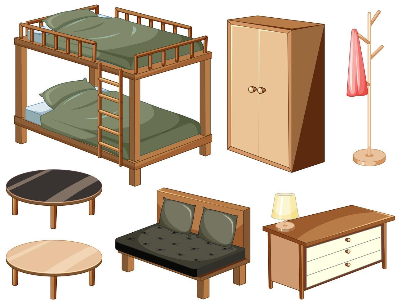 Schlafzimmermöbelobjekte lokalisiert auf weißem Hintergrund vektor