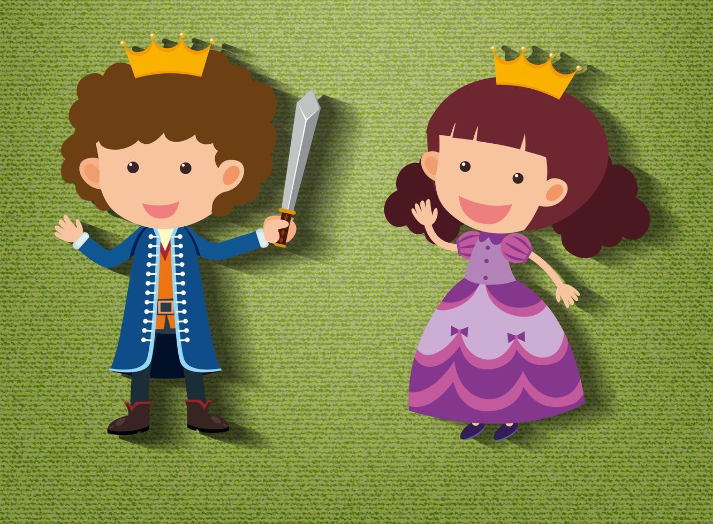 kleiner Ritter und Prinzessin Zeichentrickfigur auf grünem Hintergrund vektor