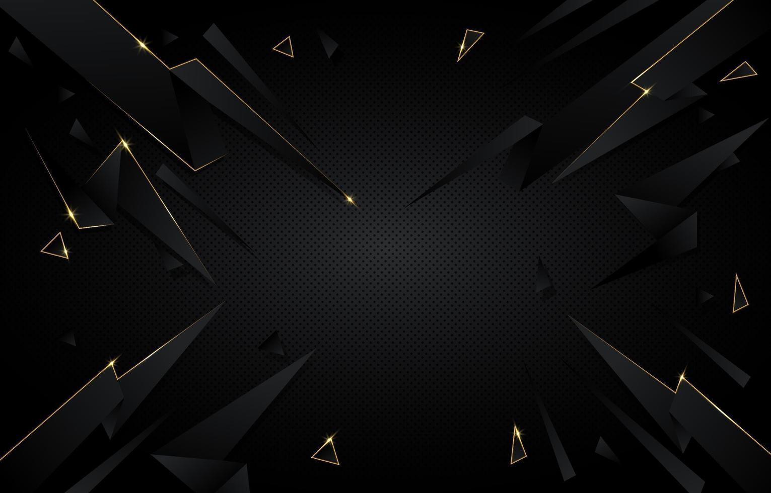 abstrakt svart och guld polygonal bakgrund vektor
