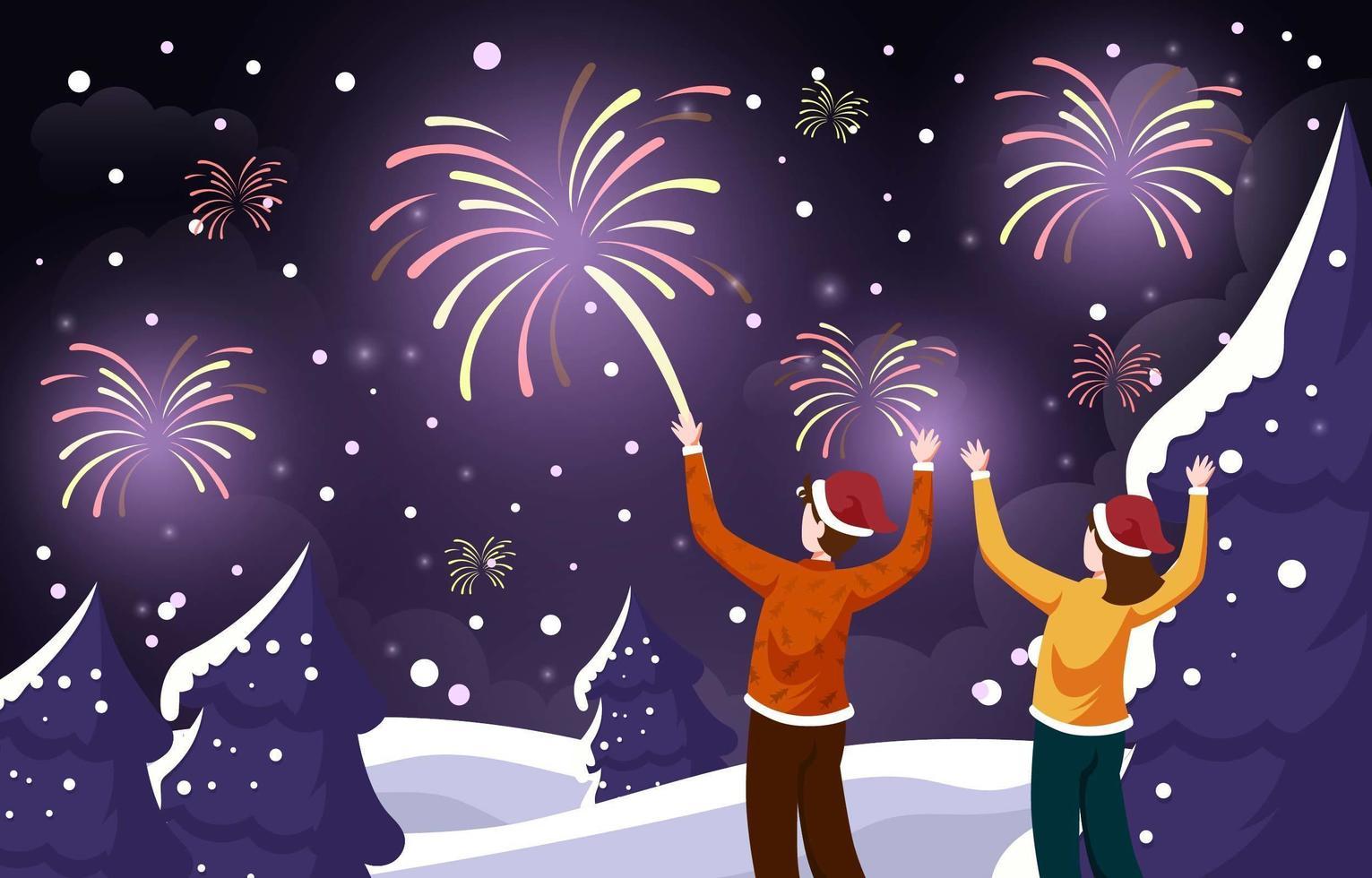 Paar beobachtet Feuerwerk auf schneebedeckten im Freien vektor