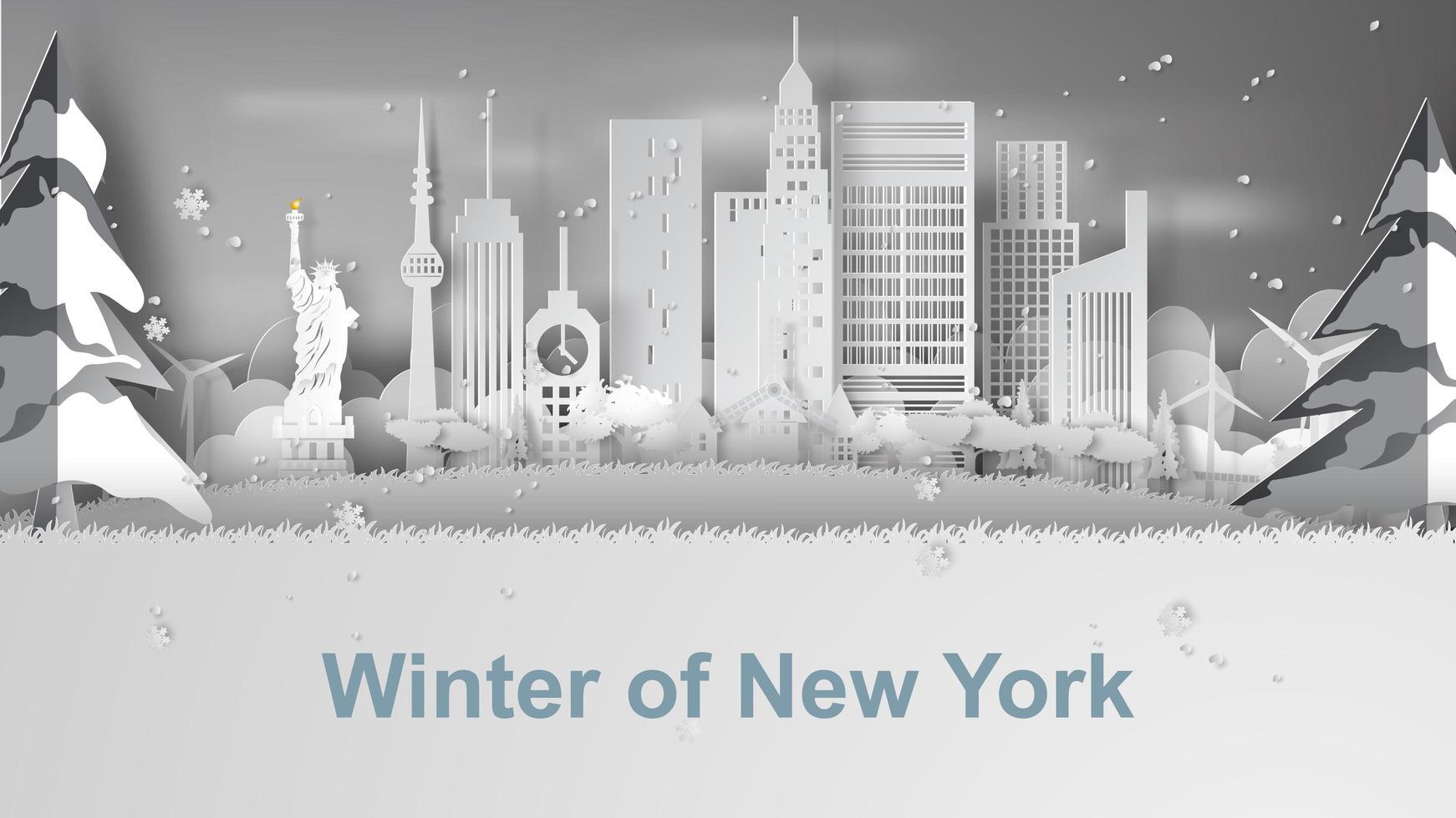 papperskonstbanner med New York City Skyline vektor