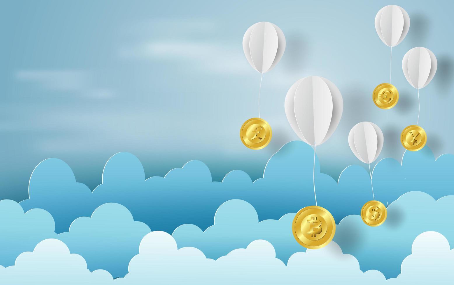 papperskonst av ballonger som moln på blå himmel banner med bitcoins vektor