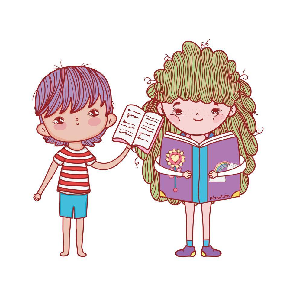 pojke med öppen bok och flicka som läser fantasibok isolerad design vektor