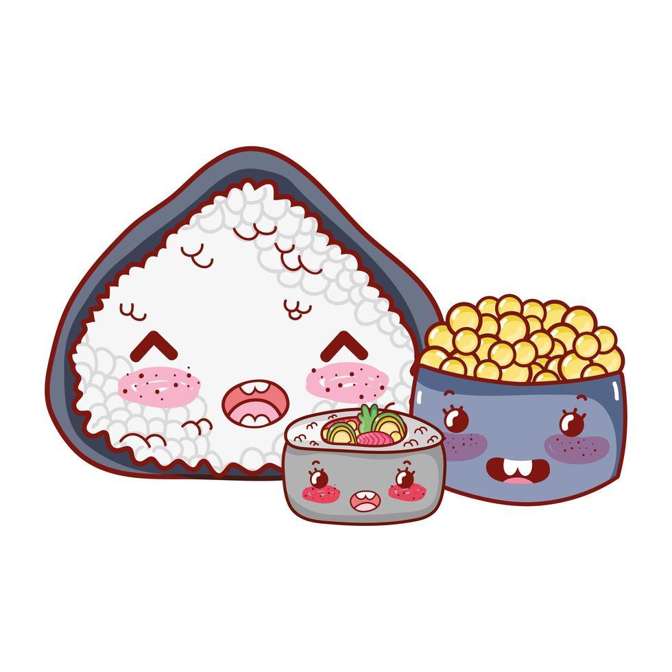 kawaii risrullsoppa och kaviarmat japansk tecknad film, sushi och rullar vektor